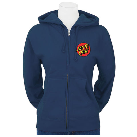 Santa Cruz Classic Dot Hooded Zip Juniors Sweatshirt Navy