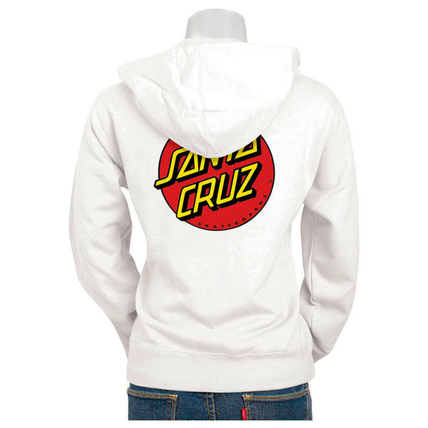 Santa Cruz Classic Dot Hooded Zip Sweatshirt Juniors White