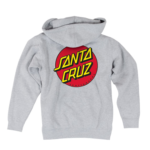 Santa Cruz Classic Dot Hoodie Zip Sweatshirt Heather Grey