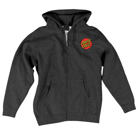 Santa Cruz Classic Dot Hoodie Zip Sweatshirt Charcoal Heather