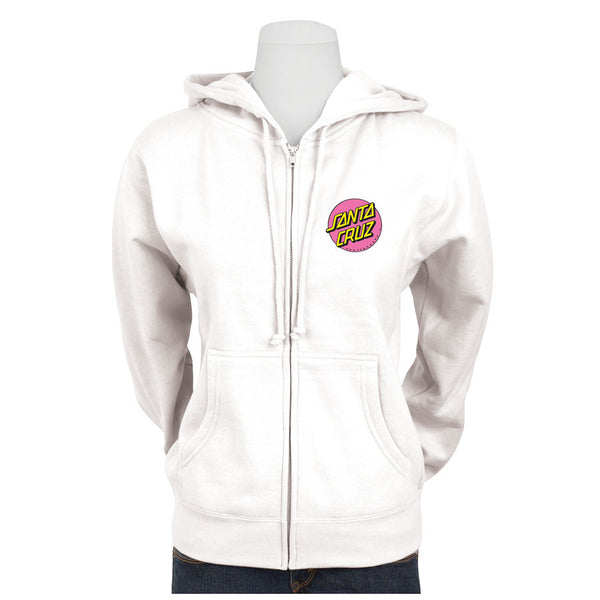 Santa Cruz Pink Other Dot Hooded Zip Sweatshirt Juniors White