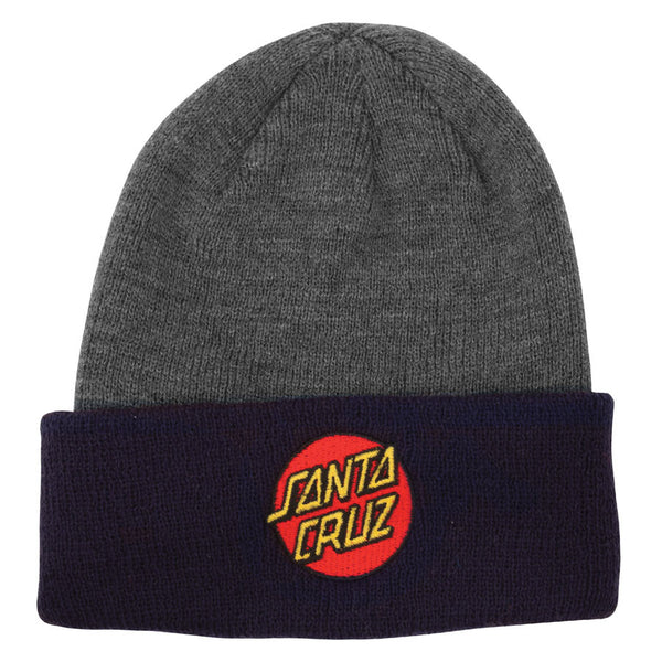 Santa Cruz Classic Dot Long Shoreman Beanie Charcoal Heather/Navy