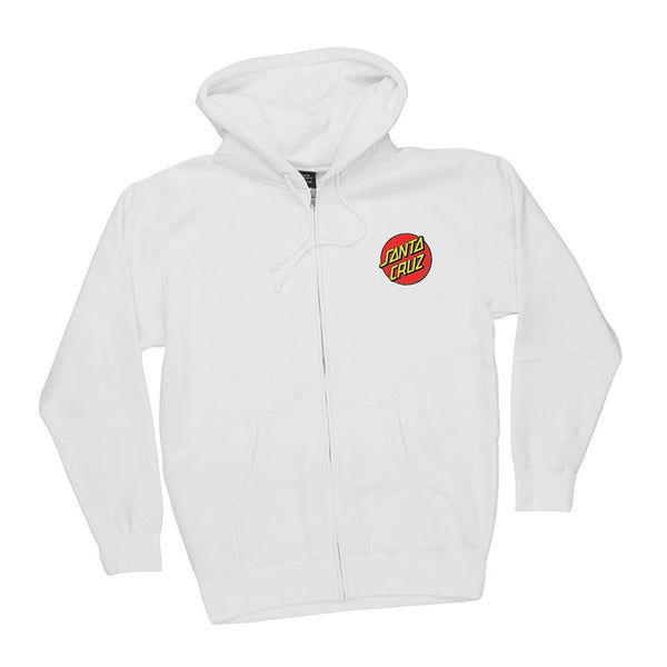 Santa Cruz Classic Dot Hooded Zip L/S Sweatshirt White