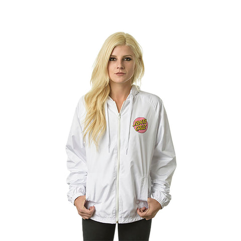 Santa Cruz Other Dot Women's Hooded Windbreaker Jacket White