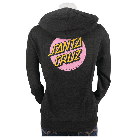 Santa Cruz Pink Other Dot Hooded Zip Sweatshirt Juniors Charcoal Heather
