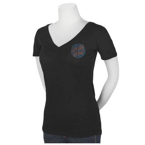 Santa Cruz Classic Dot Fitted V-Neck T-Shirt Juniors Black