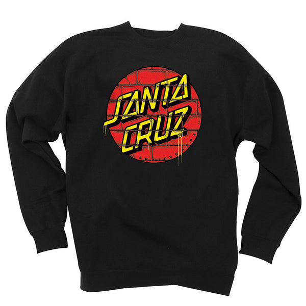 Santa Cruz Tagged Dot Crew Neck L/S Sweatshirt Black