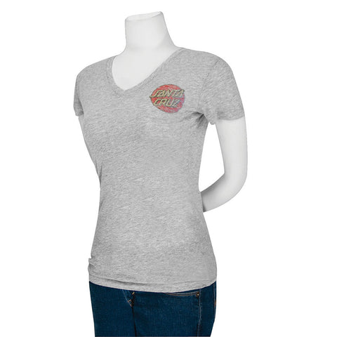 Santa Cruz Classic Dot Fitted V-Neck T-Shirt Juniors Heather Grey