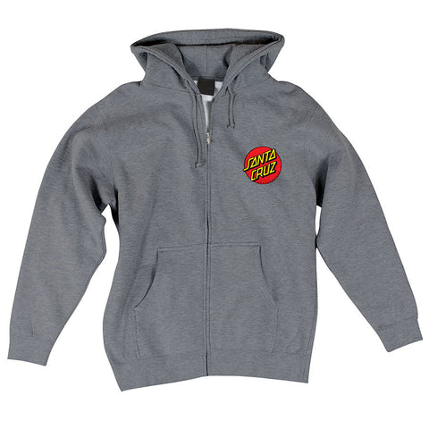 Santa Cruz Classic Dot Hooded Zip L/S Sweatshirt Gunmetal Heather