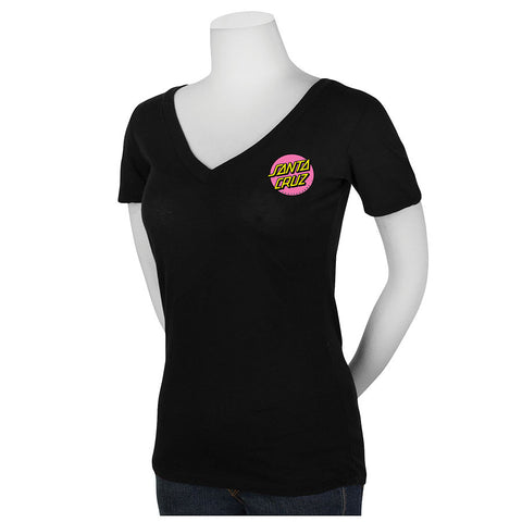 Santa Cruz Other Dot Fitted V-Neck T-Shirt Juniors Black