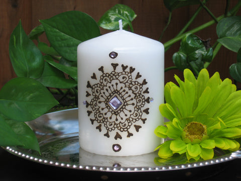 Henna Candle-Henna craft-Henna-Mehndi-Custom gift-Party favor