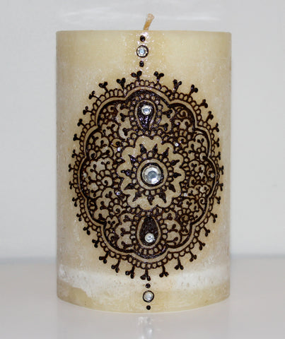 Henna Crafts,Henna on Candles,Henna,Mehndi