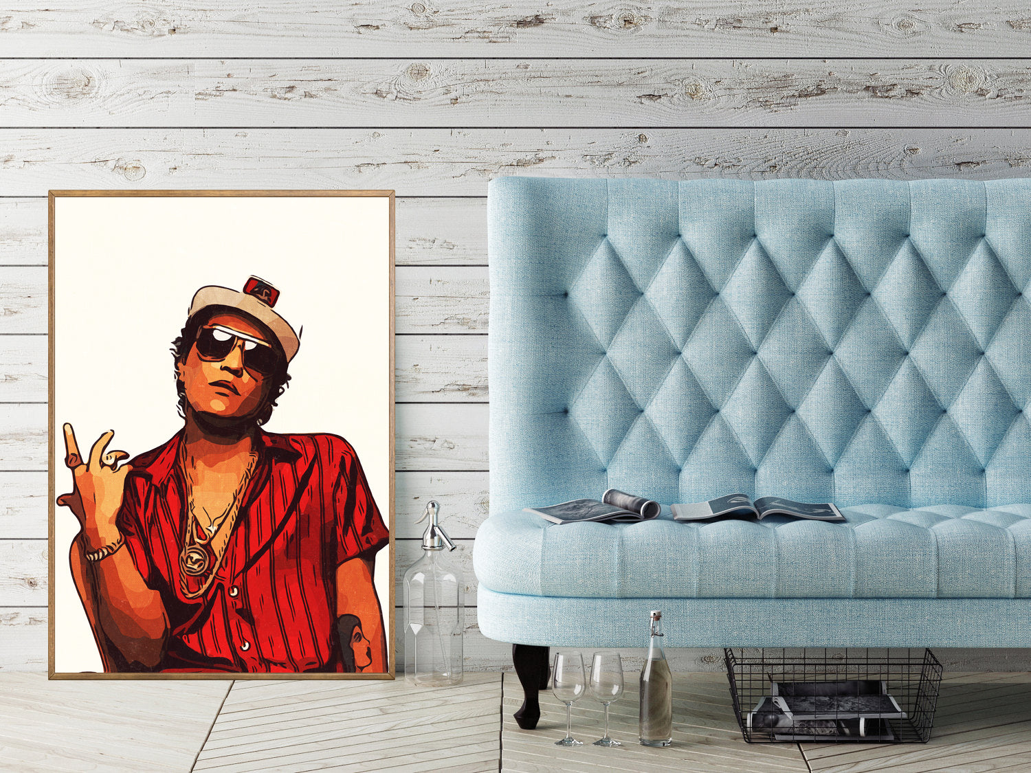 Bruno Mars Poster,Bruno Mars Print,Bruno Mars Artwork,Bruno Mars Art Giclee Print,Music Poster,Instant Download,Digital Print,Pop Art,Painting