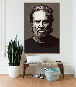 Jeff Bridges Poster,Jeff Bridges Print,Jeff Bridges Art Giclee Print,Instant Download,Digital Print,Jeff Bridges Wall Art,Black and White