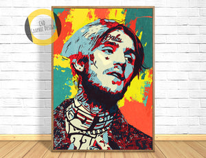 Lil Peep Poster,Lil Peep Print,Lil Peep Giclee Print,Music Poster,Instant Download,Pop Culture,Cartoon Portrait,Painting,Art,Hip Hop Art