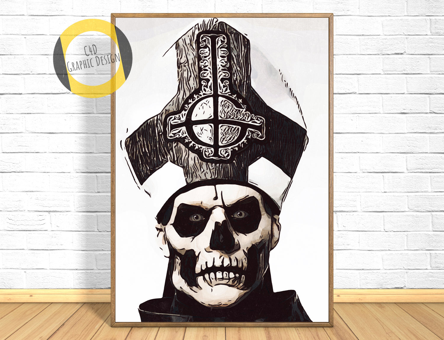 Ghost BC Papa Emeritus Poster,Ghost BC Papa Emeritus Print,Ghost BC Papa Emeritus Giclee Print,Music Poster,Black and White Art,Painting