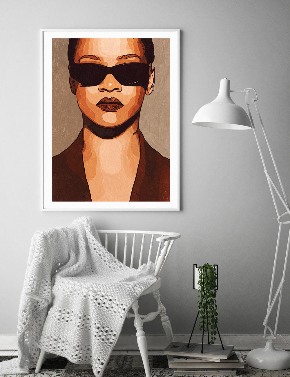 Rihanna Poster,Rihanna Print,Rihanna Home Decor,Rihanna Giclee Print,Music Poster,Instant Download,Pop Culture,Painting,Black and White Art
