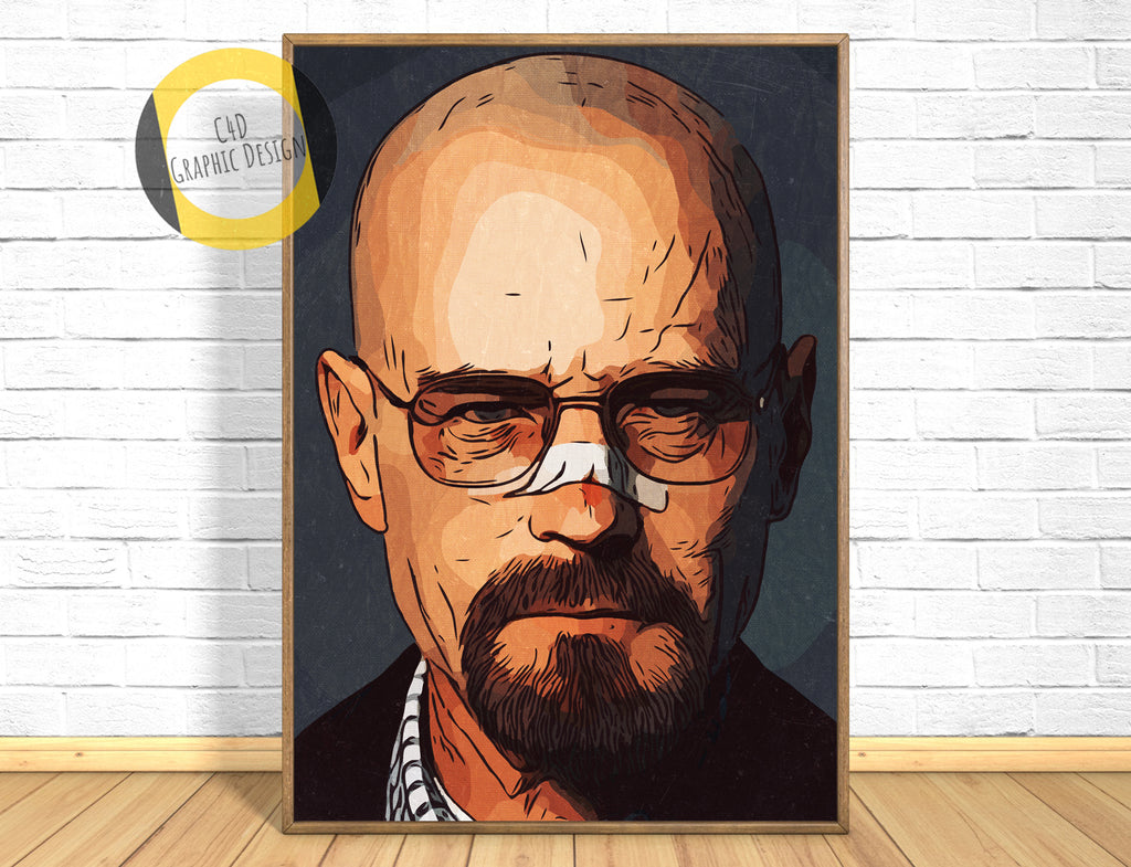 Breaking Bad - Heisenberg Poster,Walter White Print,Walter White Poster,Walter White Art Giclee Print,Instant Download,Digital Print,Pop Art