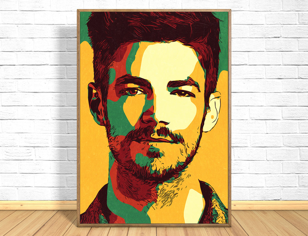 Grant Gustin Print,Grant Gustin Poster,Grant Gustin Art Giclee Print,Instant Download,Digital Print,Pop Art,Home Decor Wall Art