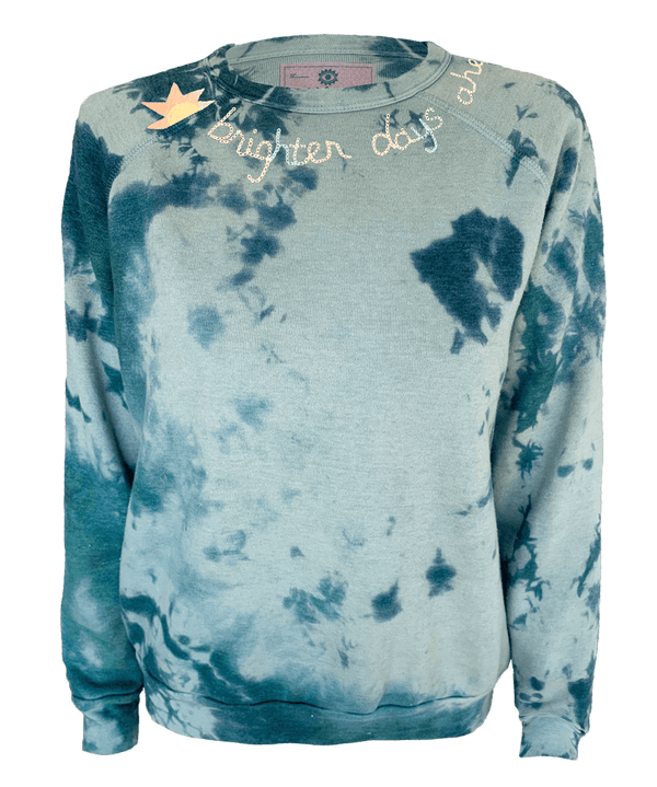 Brighter Days Ahead Tie Dyed Pullover with Glow in the Dark Embroidery