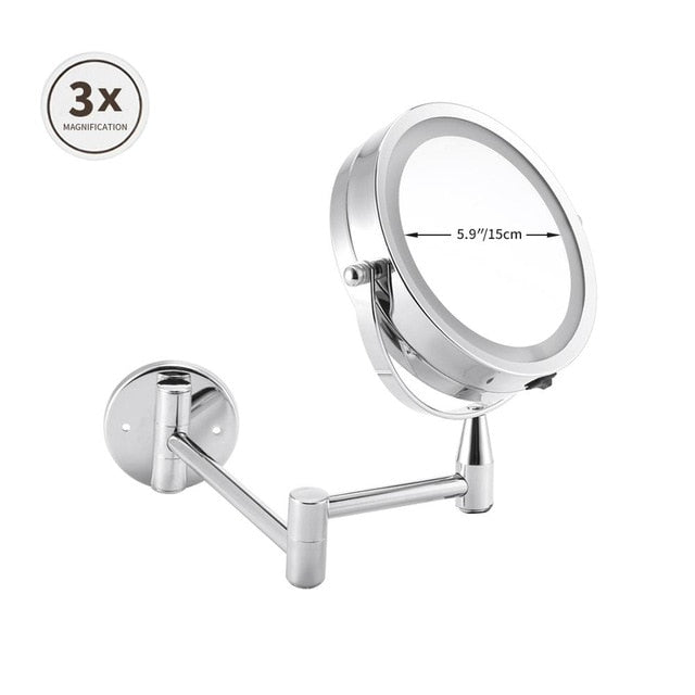 Mirrorizer - Extendable LED 8 inch 5X Magnifying Bathroom