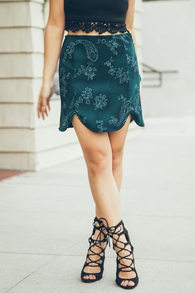Emerald City Scalloped Mini Skirt