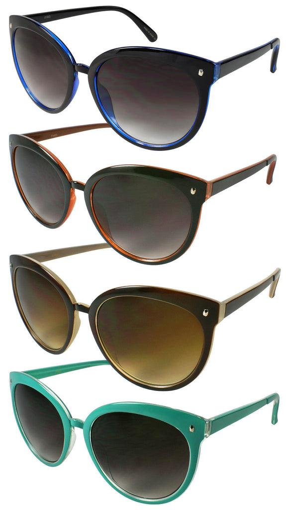 Retro Summer Cat Eye Sunglasses - Blue, Brown/Orange, Brown/Tan, Mint