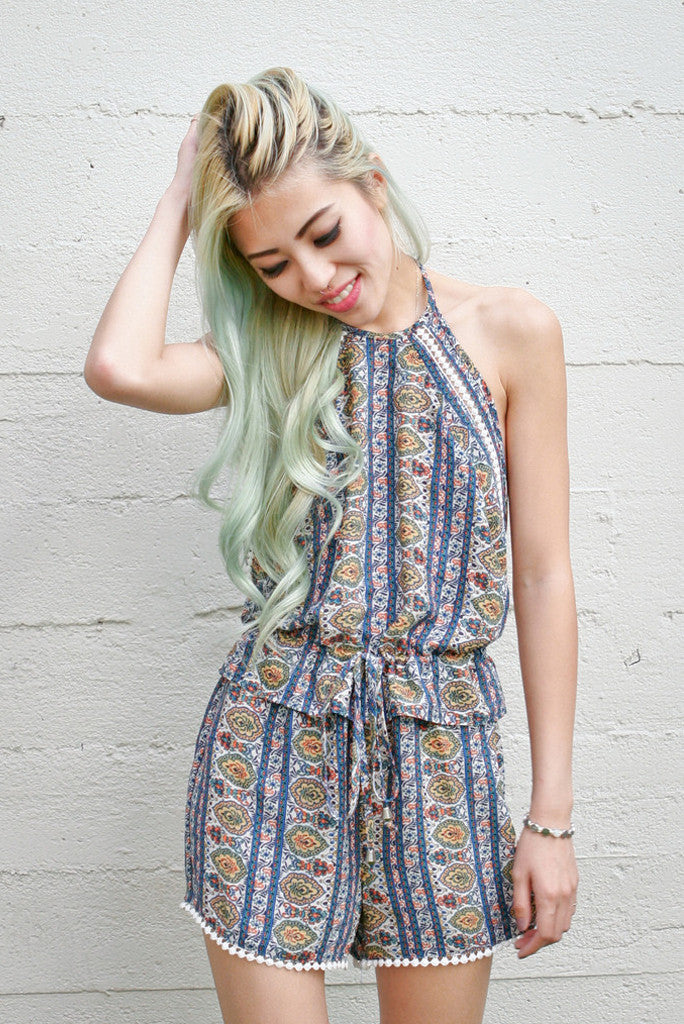 Funky Town Antique Printed Romper - Blue