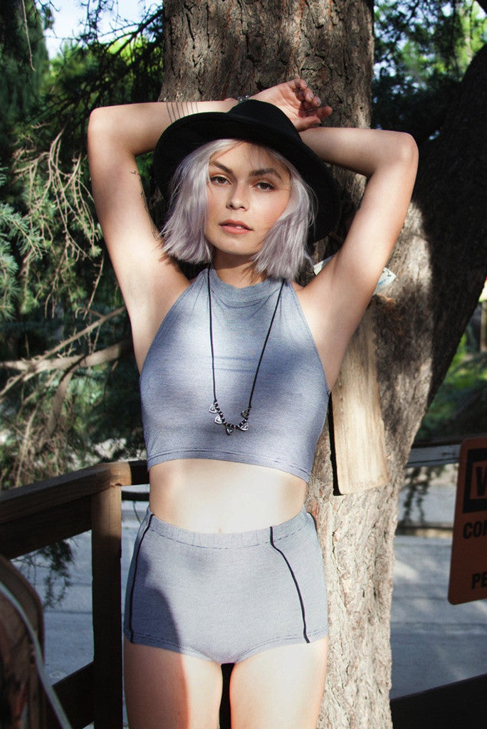 Pin Stripe Tie Back Halter Top - Grey