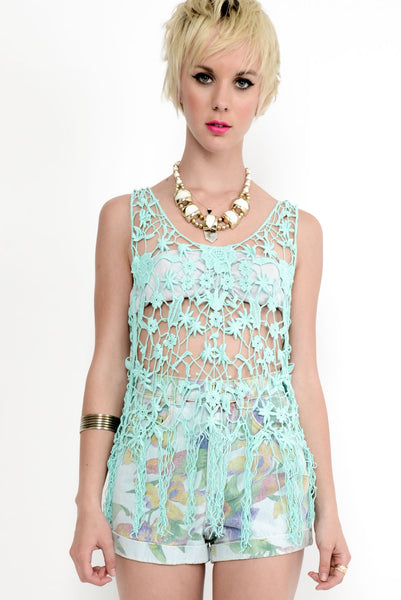 Meadow Crochet Top - Mint