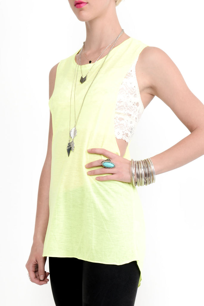 Twisted Strap Tencel Jersey Tank Top - Yellow