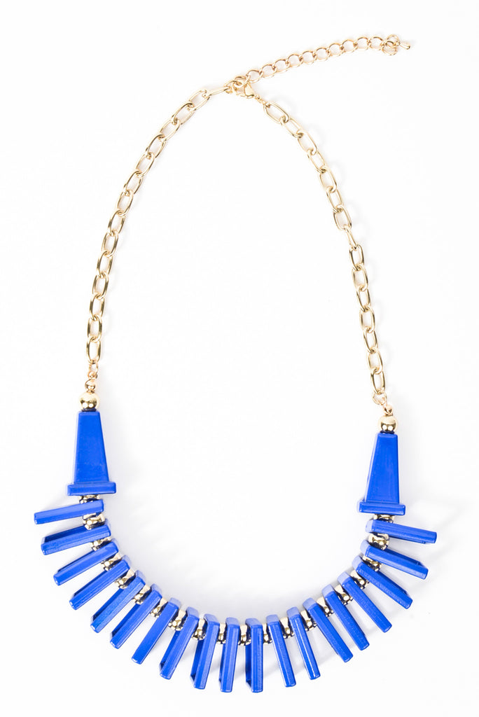 Geometric Jungle Necklace - Royal Blue