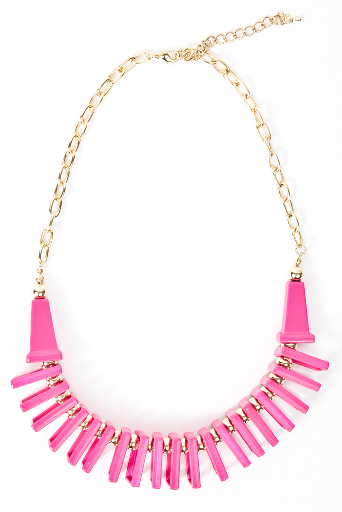 Geometric Jungle Necklace - Hot Pink