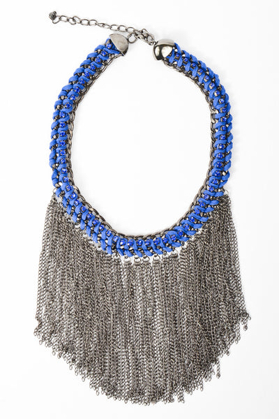 Falling Fringe Chain Necklace - Royal Blue