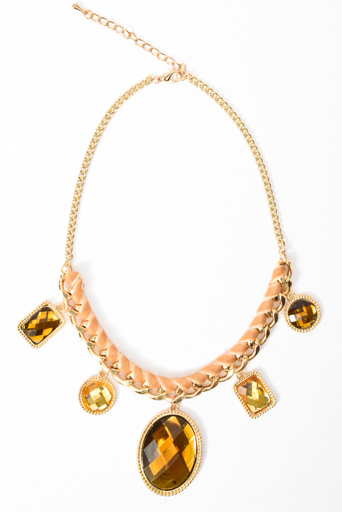 Ribbon Wrapped Pendant Necklace - Gold