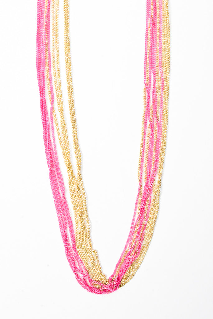 Nothing But Chains Neon Necklace - Pink/ Gold