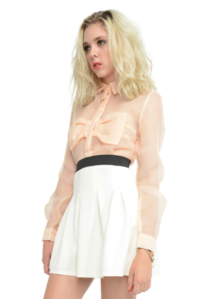 Peachy Keen Bow Front Button Up - Peach