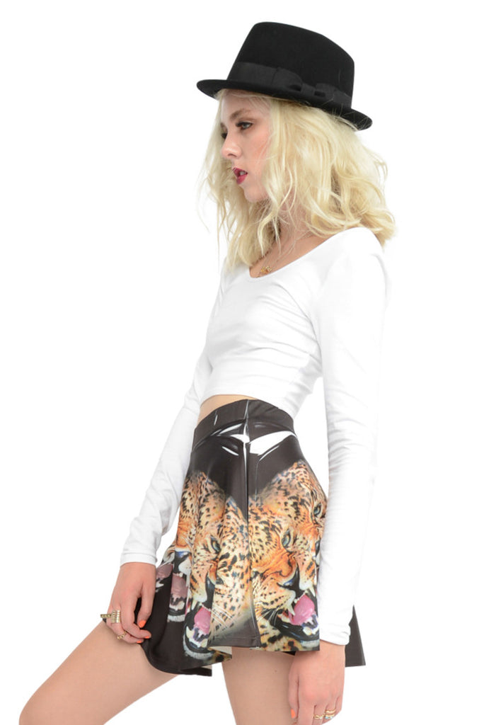 Jungle Cat Circle Skirt - Black