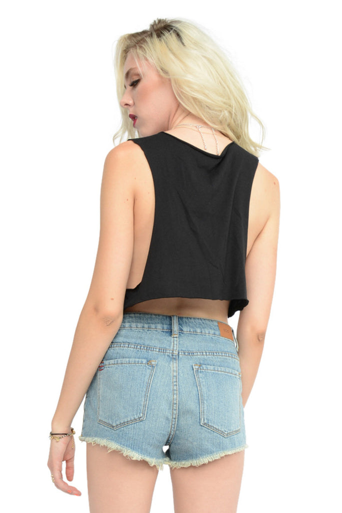 Kiss Me Cropped Tank - Black