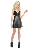 Rock You Peek-A-Boo Leather Dress - Black
