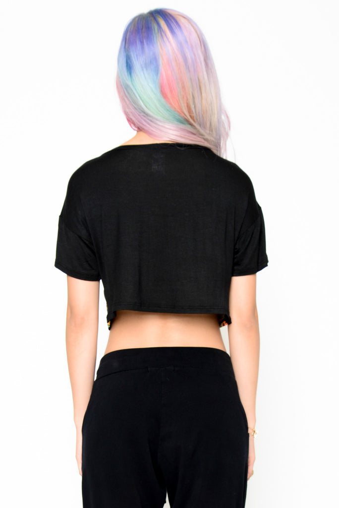 Floral Jungle Crop Top - Black