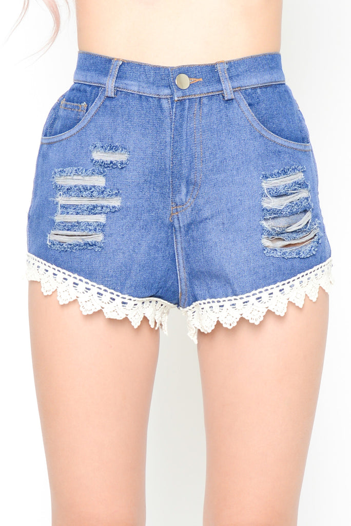 Lace Trim High Waisted Denim Shorts- Blue