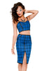 Pin Me Up Plaid Set - Blue