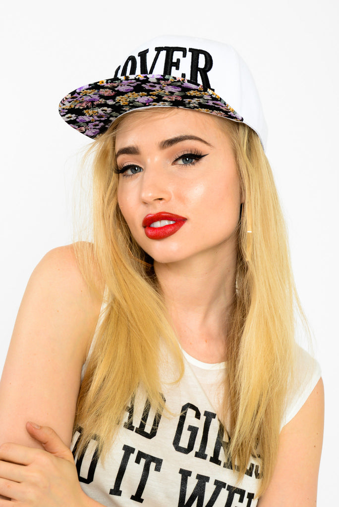 United Couture Floral Lover Snapback Hat- White