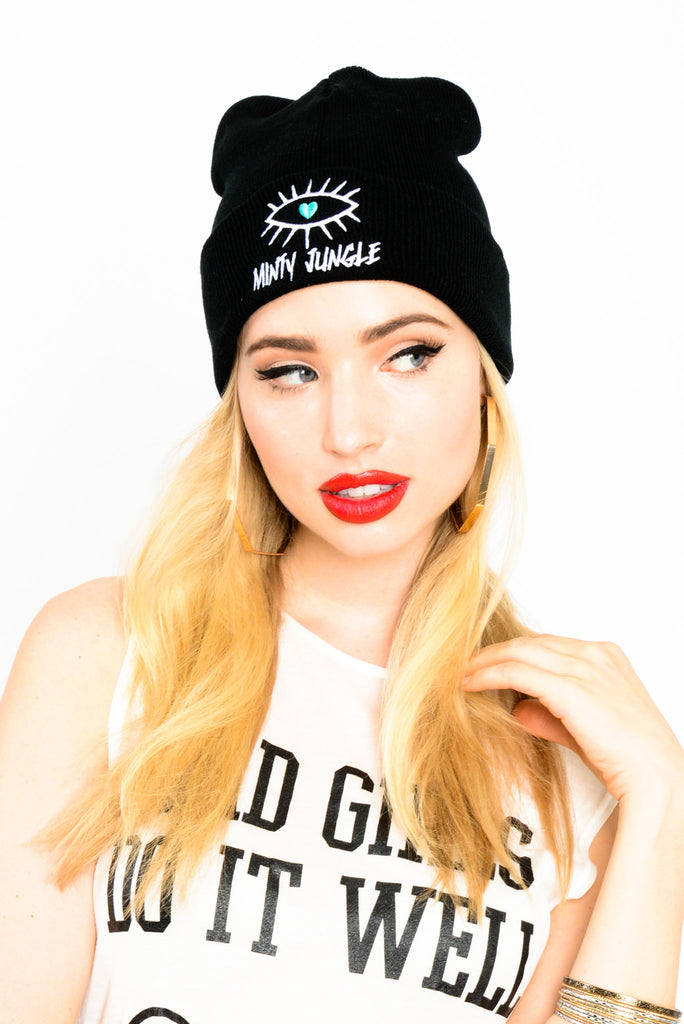 Minty Jungle Cuffed Beanie - Black