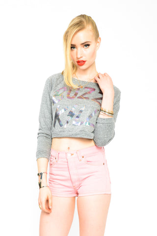 Buzz Kill Iridescent Crop Top Sweatshirt - Grey