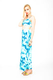 Tie Dye Cut Out Maxi Dress - Aqua