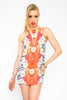 Daisy Printed Babydoll Dress - Orange