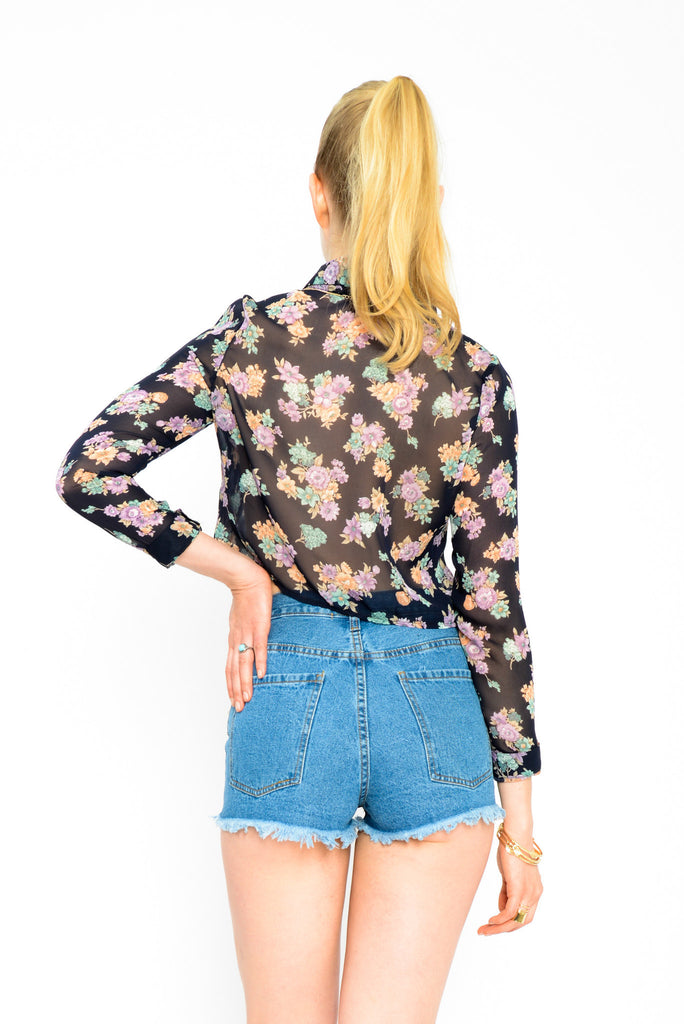 Floral Print Button Up Crop Top