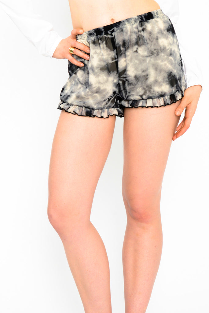 Tie Dye Chiffon Shorts with Ruffles - black